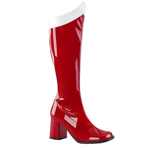 Funtasma Damen Stretch Kniestiefel Kostüm Gogo-306 rot (Tanz Katalog Kostüm)