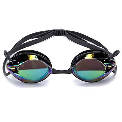 Gafas de Natación, CompraFun Gafas Profesional de Natación Anti-Niebla Alta Definición Ajustable con Silicona de Calidad Utilizable de Niño a Adulto (Negro)