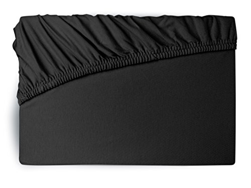 npluseins Premium Jersey-Lycra Spannbettlaken - auch für Boxspringbetten 556.682, schwarz