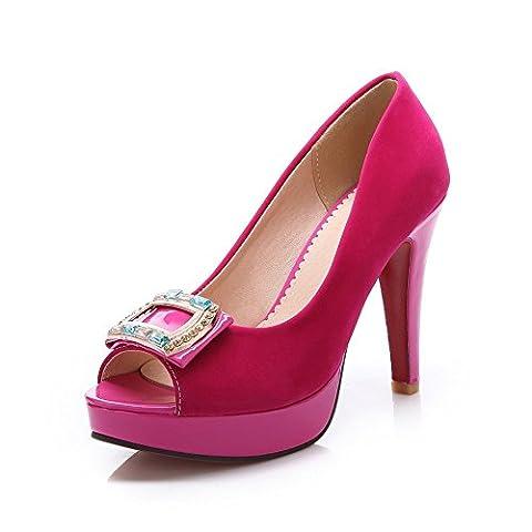 Adee Femme Strass High-Heels givré Sandales - Rouge - Rose/rouge, 36