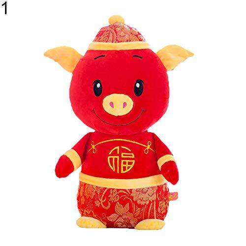 e Schweine-Puppe für Neujahr, Kawaii-Maskottchen, Schweine-Anzug, Kleid, Glücksspielzeug, Party-Dekoration, Geschenk, Partyzubehör ()