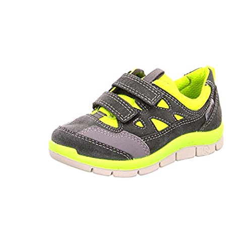 Ricosta 91.21400 Boys Gray/Yellow Leather Sneakers, 13 Child