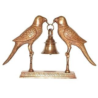 Aakrati Brass Parrot Pair Holding a Bell