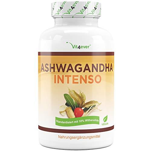 Vit4ever® Ashwagandha Intenso - 180 Kapseln - 1500 mg pro Tagesportion - 10% Withanoliden - Laborgeprüfter Wirkstoffgehalt - Aswaganda in Premium Qualität - Vegan - Hochdosiert - Schlafbeere -