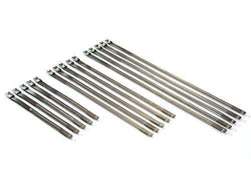 Hitzebeständig Edelstahl Kabel / Kabelbinder für Auspuff- und vieles mehr - 15 Teile Set ideal für Motorräder, Motorräder, Scooters, Autos, Vans, Trucks