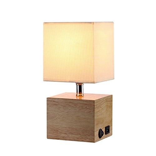 Tischlampe mit Stabilem Holzfuß, HOMPEN Nachttischlampe in Natürlicher Farbe mit 5V/2A USB-Anschluss, Ein-/Ausschalter,Creamfarbener Schirm aus Stoff