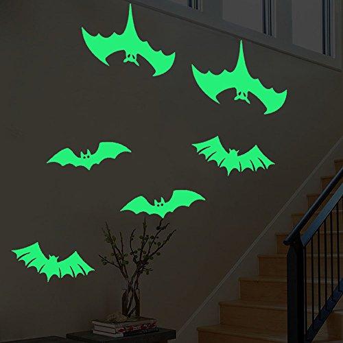 Fledermäuse halloween deko leuchtaufkleber wandsticker fluoreszierend und im Dunkeln leuchtend für Kinderzimmer und Babyzimmer Schlafzimmer, Wände & Decken
