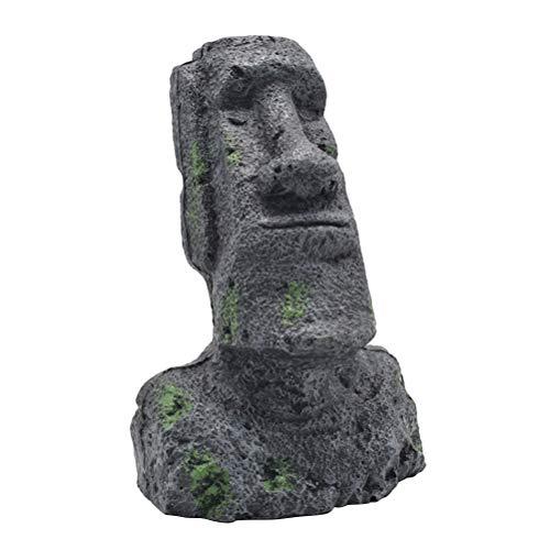 Amosfun Moai Kopf Osterinsel Statue Figur Steinfigur Dekofigur Skulptur für Garten Landschaft Aquarium Dekoration Aqua Ornaments - Größe M (Aquarium Dekoration Garten)