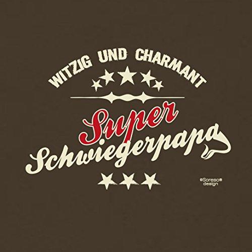 bequemes T-Shirt Herren Männer Motiv Super Schwiegerpapa Geschenk-Idee, Vatertag, Weihnachten kurzarm Outfit, Kostüm Farbe: braun Braun