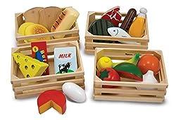 Helfen Sie Ihrem Kind mit diesen passenden Produkten von Melissa & Doug etwas über gesunde Ernährung zu lernen - Hölzerne Spiele Essens-Set. Das Set beinhaltet 21 Artikel hölzerne Lebensmittel, unterteilt in Backwaren, Fleisch und Fisch, sowie Ei...
