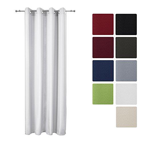 Beautissu Blickdichter Ösen-Vorhang Amelie - 140x245 cm Weiß Uni - Dekorative Gardine Ösenschal Fenster-Schal Off-weiße Fenster Gardinen