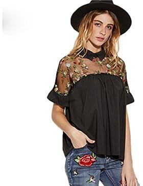 Cinnamou Tops florales de mujer Blusa de flores bordadas Cuello redondo Tops de manga corta Hombro de encaje sexy