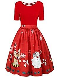 Vestido Invierno Mujer Navidad, Moda para Mujer Talla Grande Navidad Impresión Vestido de