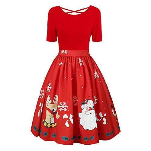 SEWORLD Weihnachten Christmas Damen Abend Party Mode Damen GrOße Größe Weihnachten Drucken Steppnähte unregelmäßig Kleid Abendkleid(X9-rot,EU-36/CN-L)