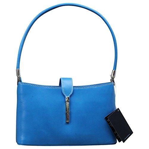 Made in Italy Damen Tasche Handtasche Schultertasche Clutch Echt Leder , Farbe:Dunkelbraun Blau