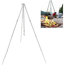 Donnagelia Dreibein Gestell 113cm für Gulaschkessel Schwenkgrill Kesselgulasch mit Kettenhöhenverstellung Camping Outdoor Wandern Reise