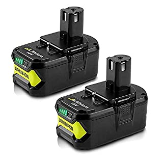 18V 5.5Ah Li-ion Replacement Battery for Ryobi ONE+ Tools RB18L40 RB18L50 RB18L25 RB18L13 P108 P107 P122 P104 P105 P102 P103 Cordless Drill Power Tools, 2 Pack