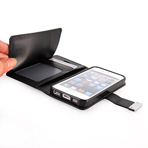 MOONCASE iPhone SE Case, Housse en Cuir Étui pour iPhone 5 5S Coque Cover à rabat de Protection Doré Noir
