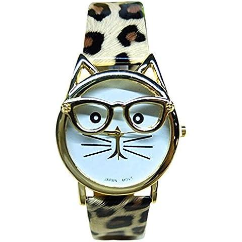 Sanwood®–Occhiali da sole Adorabile gatto Custodia in finta pelle analogico al quarzo Bracciale orologio da polso (Leopard), Leopard, Taglia unica
