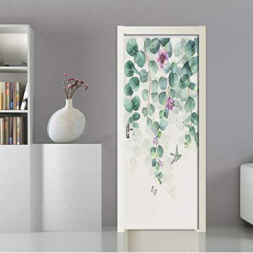 yuyu-beautiful Wallpaper Nordic Leaves Flower Butterfly Mural Living Room Study Room 3D Door Sticker PVC Self Adhesive Waterproof Wall Paper -