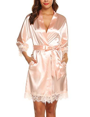 BESDEL Womens Cotton Robe Weicher Kimono Seidiger Bademantel 3/4 Ärmel Leichter Champagner L