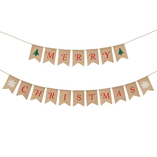 KAKOO Merry Christmas Banner Burlap Bunting Hanging Pennant Banner Flag Garland for Home Garden Party Holiday Decoration Displaying