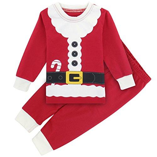 Mombebe Baby Jungen Weihnachten Kostüm Säugling Weihnachtsmann Schlafanzug Pyjamas Set Langarm (Rot, 12-18 Monate)