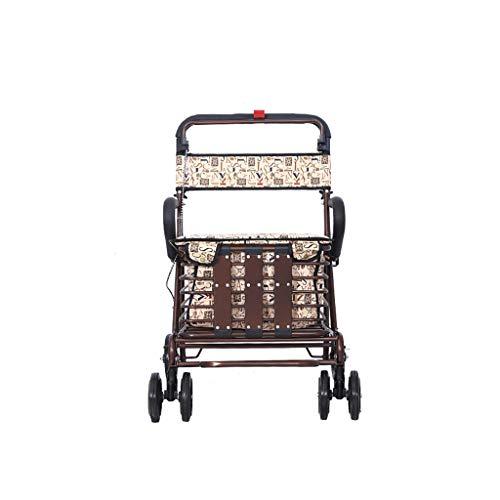 Einkaufstrolleys EinkaufswagenOld Roller faltender Einkaufswagen kann Vier Runden nehmen, um Nahrung zu kaufen und Hilfe kann Kleinen Wagen Alten tragbaren Wagen schieben