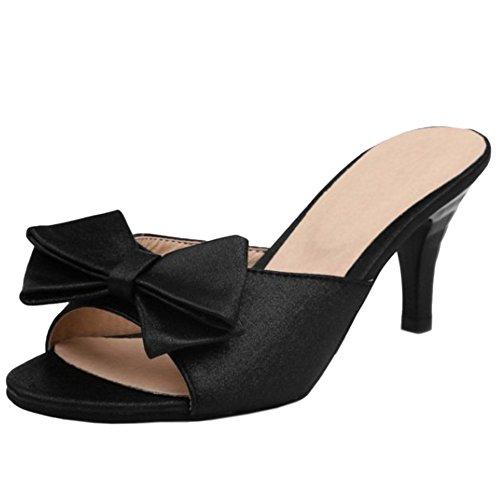 TAOFFEN Damen Mode-Event Schlupfschuhe Slide Shoes Bogen Open Back Absatz Sandalen 937 Schwarz