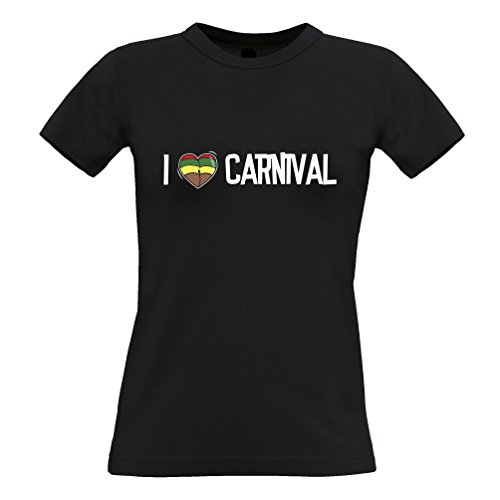 Tim And Ted Musik Frauen T-Shirt Ich Liebe Karneval Reggae Jamaica Dub Soca Black Medium