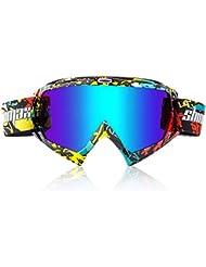 Shinmax Gafas de Esquí , Unisex Motocross Deportes Snowmobile Esquí de Nieve Snowboard Gafas, Anti Polvo de Niebla UV, a Prueba de Polvo Resistente a los Arañazos Bendable a Prueba de Viento Gafas Protectoras Gafas