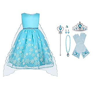 Vicloon – Disfraz de Princesa Elsa/Capa Disfraces/Belle Vestido y Accesorios para Niñas- Reino de Hielo – para Carnaval,Cosplay,Navidad,Fiesta de Cumpleaños – 5 Trajes Diferentes para Elegir