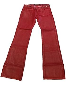 Fornarina Damen Jeans Rot Pike Cherry Wild Leder Optik Nieten Rock Star Wildleder Look Designer Bootcut Hose