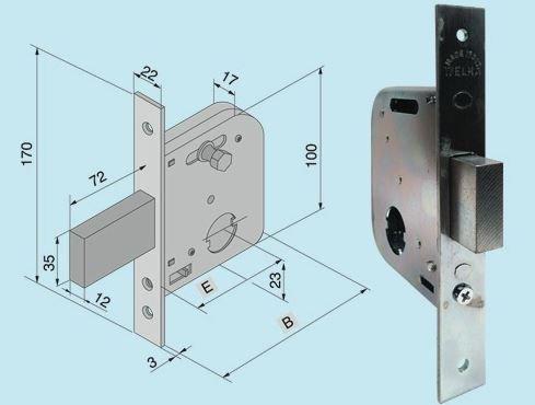Serrature Welka per cancelli senza cilindro Art. 07345400