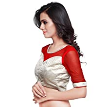 398d0d6c2ba056 Mirchi Fashion Women s Light Gold and Red Art Silk and Net Readymade  Partywear Saree Blouse Choli