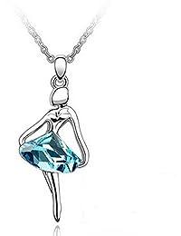 Collar bailarina cristal azul turquesa Swarovski Eléments