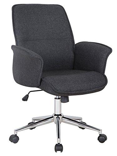 SixBros. Bürostuhl Chefsessel Drehstuhl Schreibtischstuhl Stoff Schwarz 0704M/2489