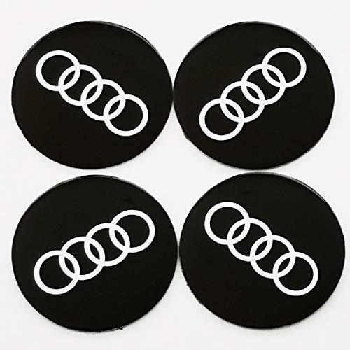 Replica coprimozzo adesiva con logo Audi, 55mm, set da 4, per cerchi in lega,nero