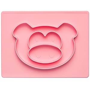 Happy Face Mat Kinder-Teller Baby Essmatte aus Silikon Essunterlage Tisch-Set Platzteller Anti-rutsch-Fester Babyteller; Ferkel, pink-rosa