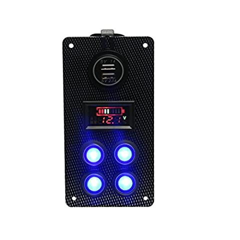 teqstone Auto Boot Marine On-Off-Rocker Switch Panel 12V Dual USB Ladegerät + voltmeter Gauge