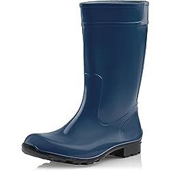 Ladeheid Botas de Agua Antideslizantes en PVC Mujer LA-967 (Azul Oscuro/Negro, 38)
