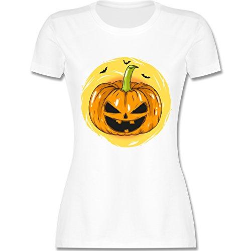 Shirtracer Halloween Halloween Kürbis Gesicht Damen TShirt Rundhals ...