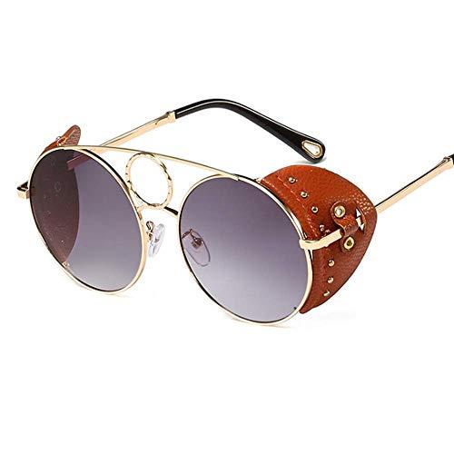 Lisa旗舰店 Sonnenbrille Persönlichkeit Mode Steam Metal Sonnenbrille Damen Runde Sonnenbrille Flut Leder Niet Brille Männer,1