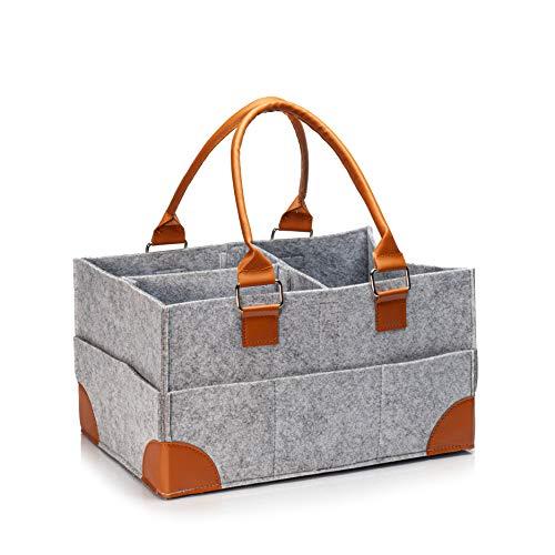 Skojig Wickeltasche aus Filz ca. 41 x 28 x 20 cm | Große Windeltasche mit viel Stauraum für Windeln, Trinkflasche, Kleidung & Co | ideale Babytasche für Wickelzubehör mit viel Kapazität