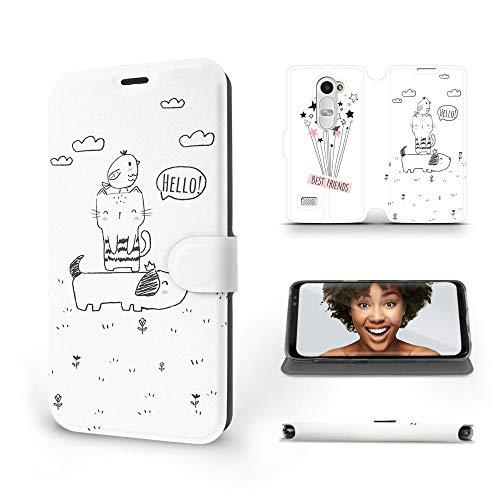 MOBIWEAR   Slim FLIP Case   Kompatibel mit LG Leon, Made in EU handyhülle, Premium Schutzhülle, Transparent TPU Silicon, Book Style Hülle, Tasche - Beste Freunde
