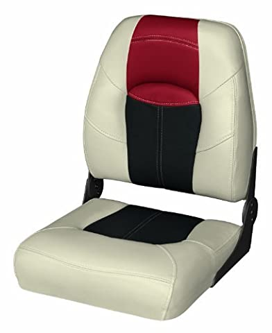 Wise 8WD1461-857 Blast-Off Tour Series Folding High Back Boat Seat (Mushroom/Black/Red) by Wise