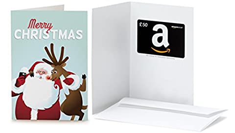 Amazon.co.uk Gift Card - In a Greeting Card - £50 (Christmas - Santa and Rudolph)