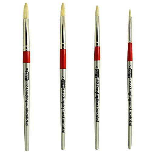 White Hog Bristle Brush (Chungking Deluxe White Hog Bristle Interlocked Round Brush Set Sizes 2,4,6,8 by ZEM)
