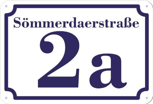 Preisvergleich Produktbild weißes Hausnummer und Straße Schild 2mm Aluverbund,  1-2 Zahlen 20 x 17 cm individuell nach Ihren Wünschen selbst gestalten
