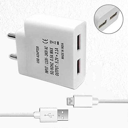 Shopmania 2.4 Amp Dual Port USB Travel Wall Charger Adapter|Fast Charger|Energy Adapter|Android & iOS Smartphone Charger Compatible with Samsung Galaxy C7 Free Micro USB Cable (White) Image 4